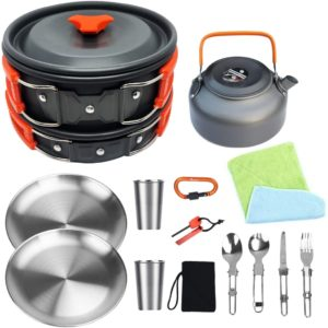 Bisgear Camping Stainless Steel Cookware Set for 2 Persons