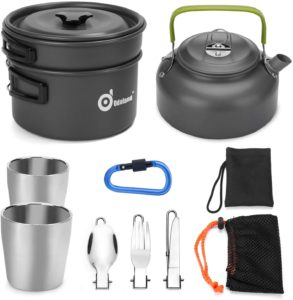 Odoland 10pcs Camping Cookware Set for Hiking and Backpacking