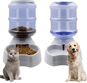 Zcaukya Automatic Water Dispenser and Cat Feeder Set Water Fountain